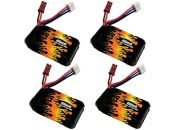 LiPo 400 2S 7.4v Battery 4-Pack for Babyhawk